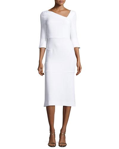 Dagnall Trumpet-Sleeve Dress, White