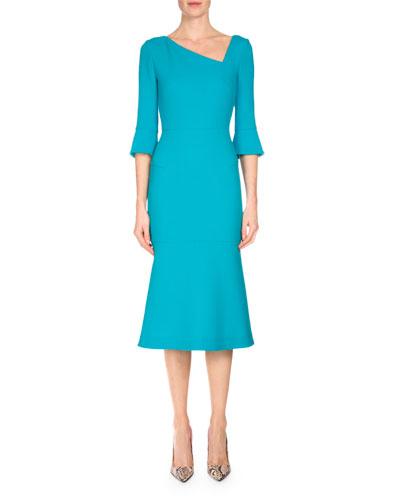 Dagnall Trumpet-Sleeve Dress, Aqua