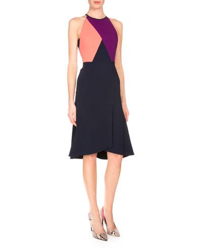 Kenard Colorblock Fit-&-Flare Dress, Navy/Coral/Grape