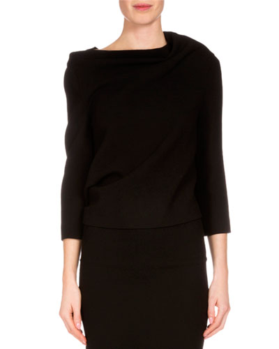 Oscar Tie-Back Blouse, Black