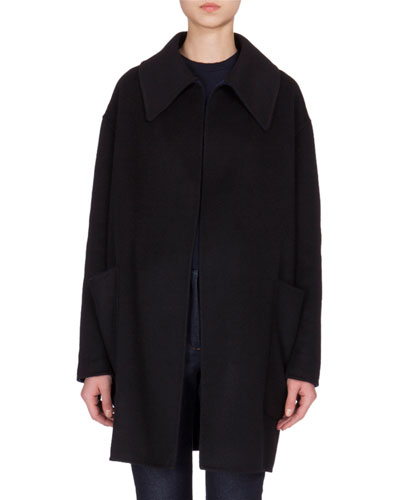 Open-Front Cashmere Swing Jacket, Black/Navy