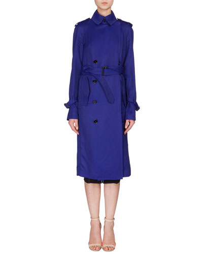 Fluid Double-Breasted Trench Coat, Deep Cobalt