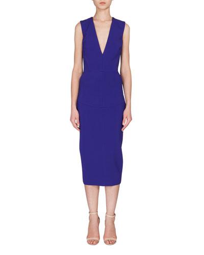 Sleeveless V-Neck Midi Dress, Cobalt Blue