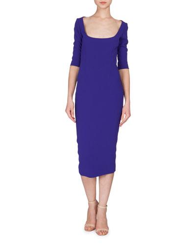 3/4-Sleeve Scoop-Neck Midi Dress, Deep Cobalt