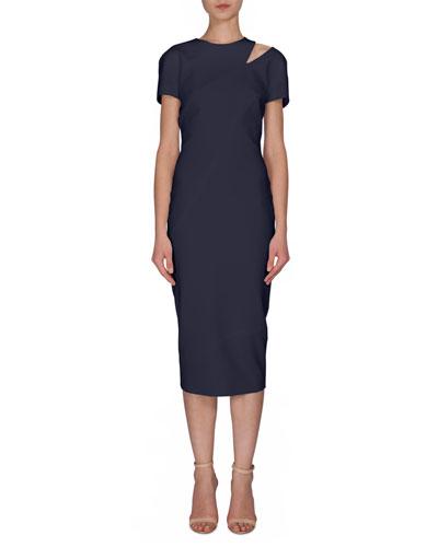 Short-Sleeve Cutout Midi Dress, Navy
