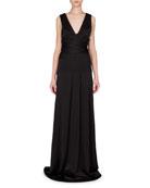 Sleeveless Seamed-Waist A-Line Gown