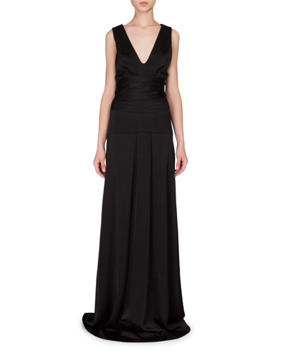 Sleeveless Seamed-Waist A-Line Gown, Black
