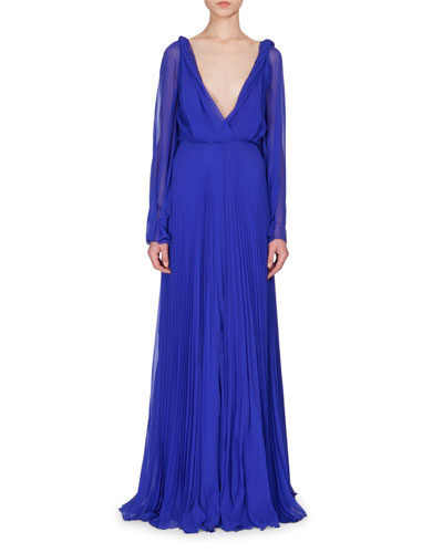 Long-Sleeve Plunging-Neck Gown, Cobalt Blue