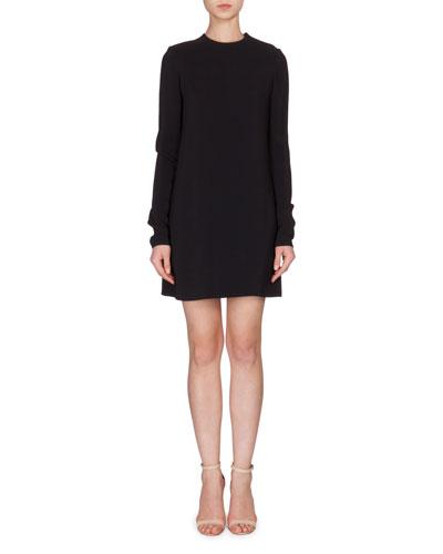 Long-Sleeve Lace-Back Shift Dress, Black
