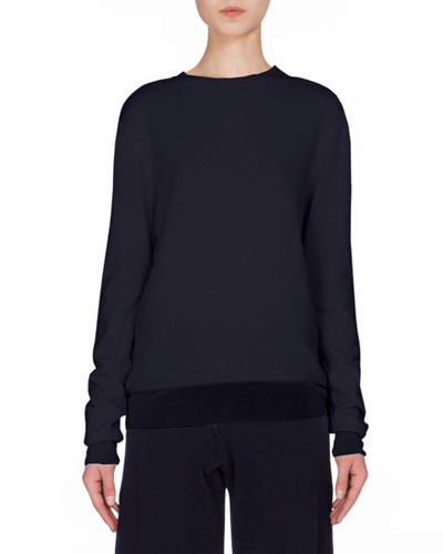 Cashmere Crewneck Sweater W/Silk Trim, Navy