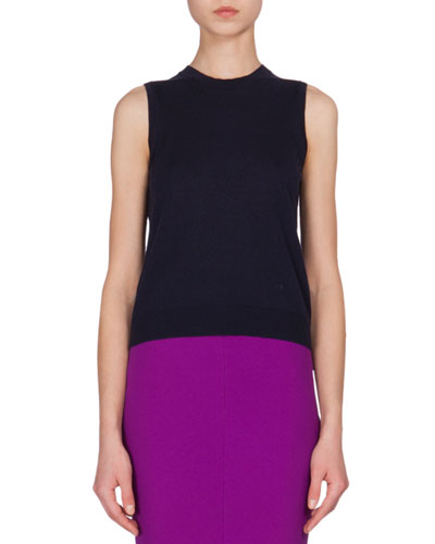 Jewel-Neck Cashmere Tank, Navy