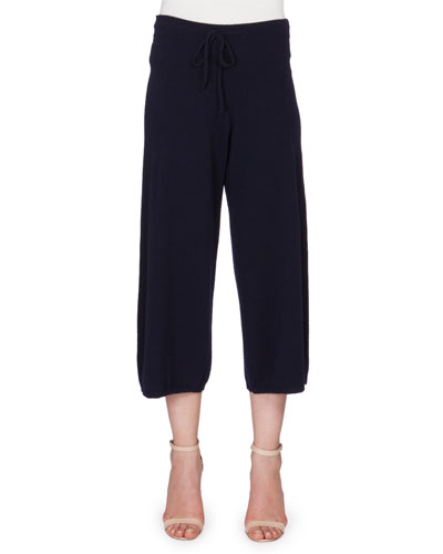 Cashmere Jogger Pants W/Silk Trim, Navy
