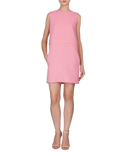 Sleeveless Shift Dress W/Pockets, Pink