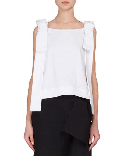 Sleeveless Shoulder-Ties T-Shirt, White