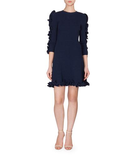 3/4-Sleeve Ruffle-Trim Dress, Navy