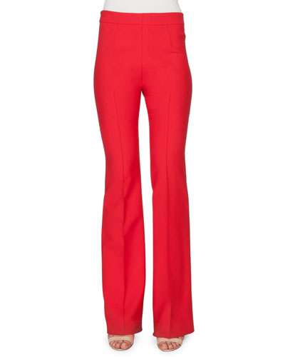 Side-Zip Flared Pants, Red