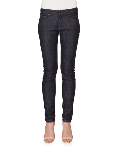 Five-Pocket Skinny-Leg Denim Jeans, Blue Raw