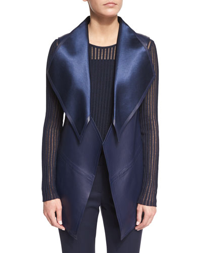 Open-Front Leather Gilet, Midnight Blue