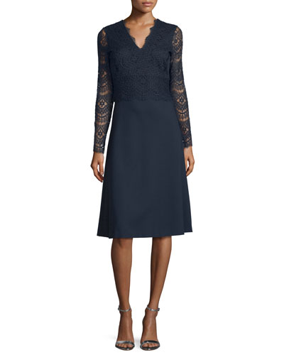 Long-Sleeve Combo Dress, Midnight Blue