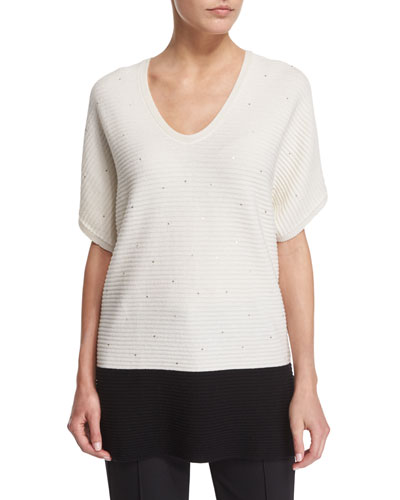Short-Sleeve Paillette Colorblock Pullover, Open Off White/Black