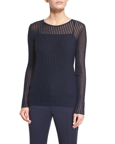 Long-Sleeve Needle-Drop Pullover Top W/Cami, Midnight