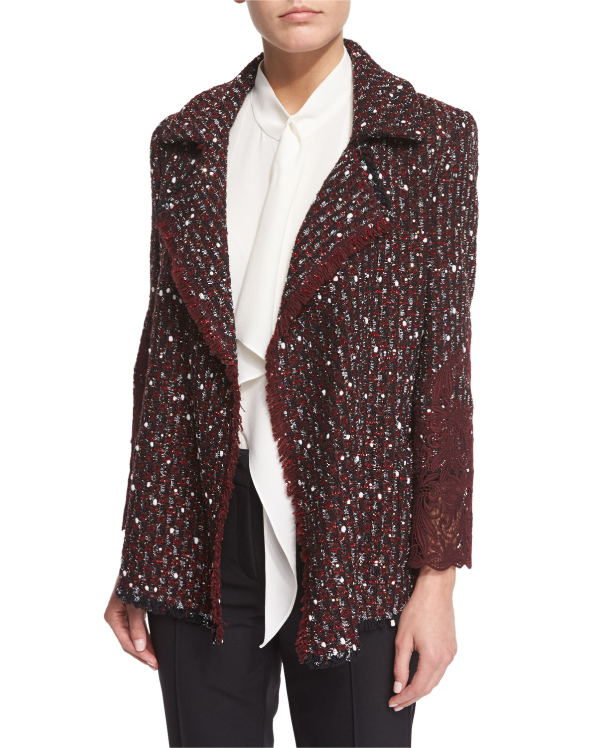 Open-Front Paillette & Lace Jacket, Marsala