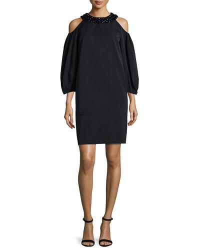 Cold-Shoulder Embellished-Neck Dress, Black
