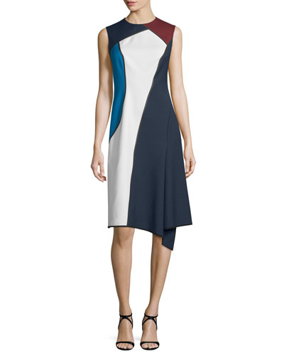 Sleeveless Jewel-Neck Colorblock Dress, Midnight Blue