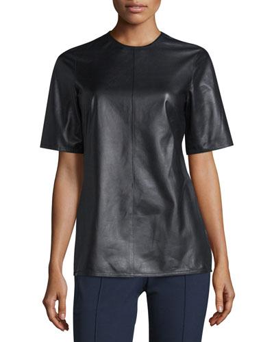 Leather Top W/Back Tie, Black