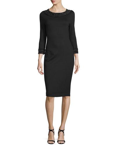 3/4-Sleeve Embellished Sheath Dress, Black