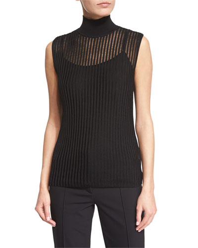 Sleeveless Mock-Neck Pullover Top W/Camisole, Black