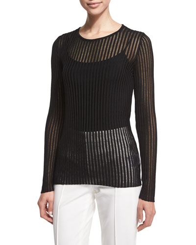 Long-Sleeve Needle-Drop Pullover Top W/Cami, Black