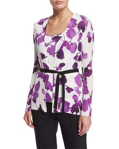 Long-Sleeve Orchid-Print Belted Cardigan, Multi Colors