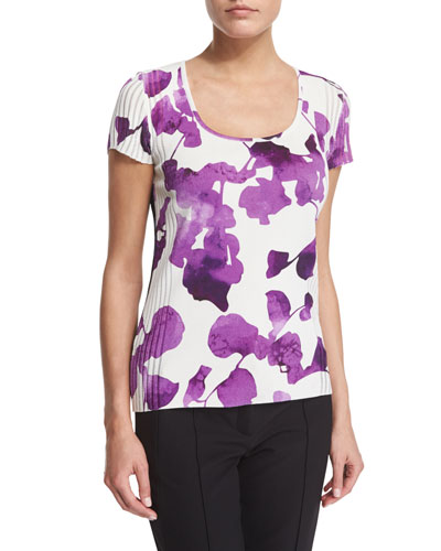 Short-Sleeve Orchid-Print Pullover Top, Multi Colors