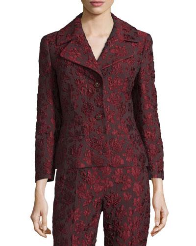 3/4-Sleeve Two-Button Jacquard Jacket, Marsala