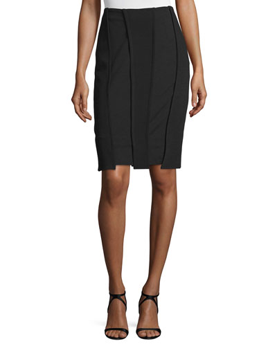 Stretch-Wool Carwash Pencil Skirt, Black