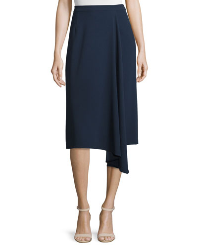 Asymmetric Faux-Wrap Skirt, Midnight Blue