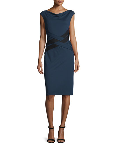 Cap-Sleeve Crisscross-Waist Dress, Midnight Blue