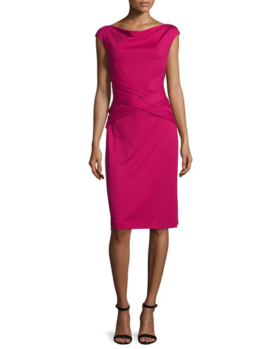Cap-Sleeve Crisscross-Waist Dress, Magenta