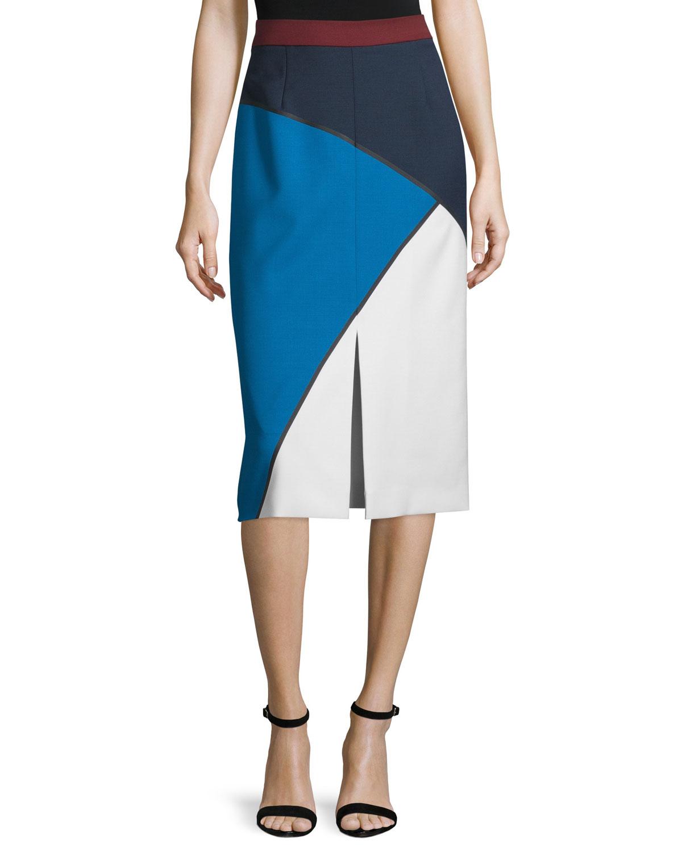Geometric-Print Bonded Pencil Skirt