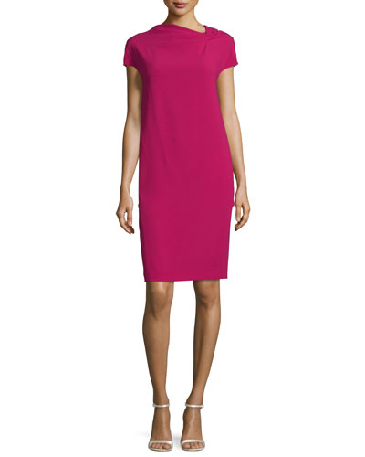 Cap-Sleeve Back-Drape Dress, Fuchsia