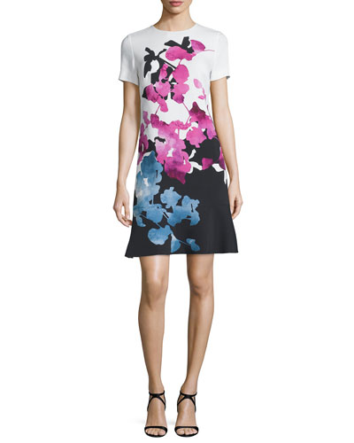 Short-Sleeve Orchid-Print Colorblock Dress, Multi Colors