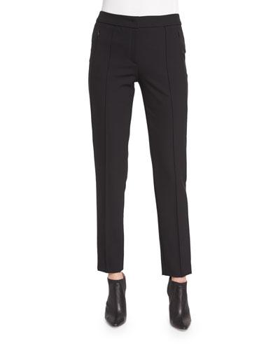 Tusko Straight-Leg Ankle Pants, Black