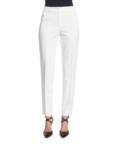 Tusko Straight-Leg Ankle Pants, Off White