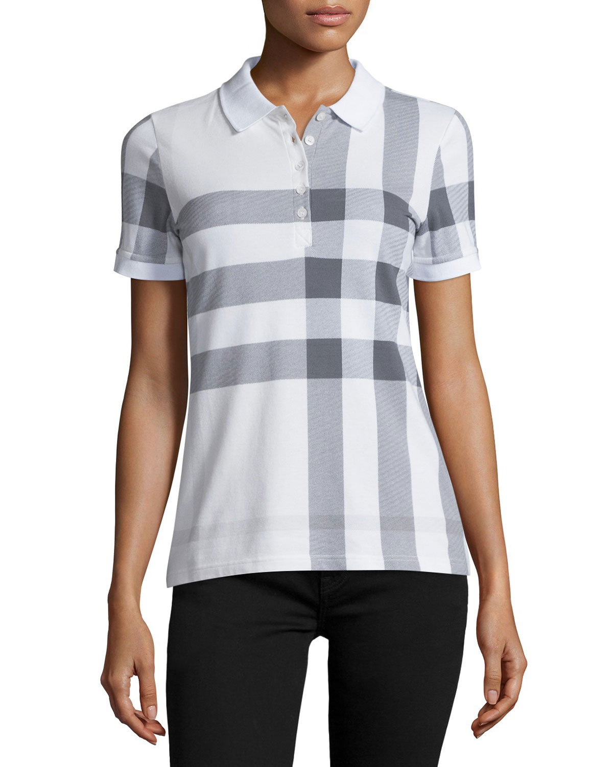 Short-Sleeve Check Polo, White