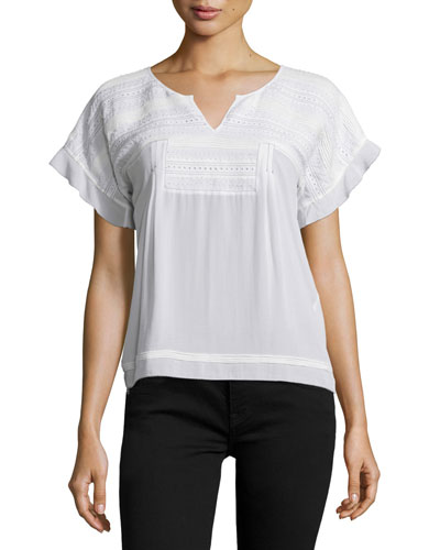 Short-Sleeve Black-Stitched Tucked Top