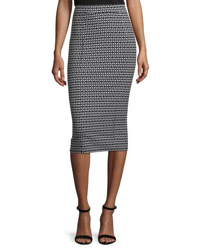 Danielle Geometric-Print Pencil Skirt, Black/Ivory