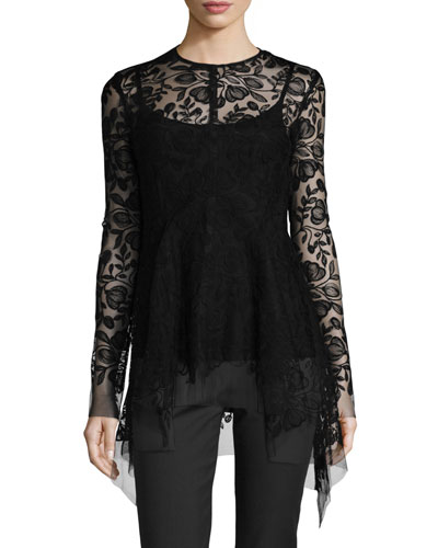 Floral Lace Handkerchief-Hem Top, Black
