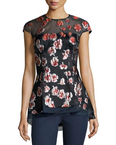 Cap-Sleeve Raised-Floral Peplum Blouse, Cranberry