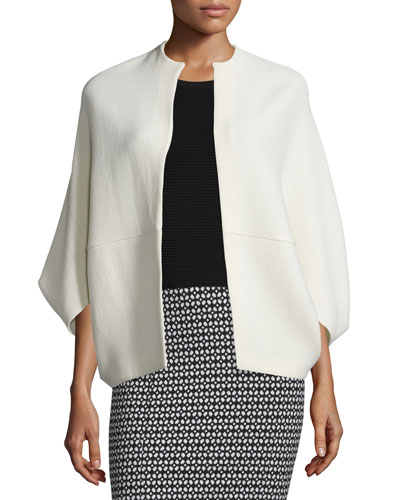 Open-Front Cape-Style Jacket, Ivory